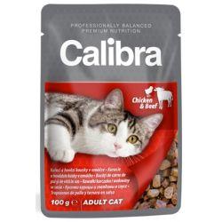 CALIBRA Adult Chicken and Beef 100g mokra karma dla wybrednych kotów Puszki i saszetki