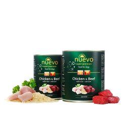 NUEVO Super Premium karma dla szczeniąt Kurczak z wołowiną, ryżem i wapniem 400g  Puszki i saszetki