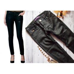 JEANSY woskowane RURKI spodnie skóra mat XL 42