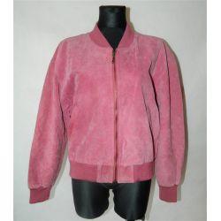Różowa zamszowa kurtka, skóra naturalna (L)