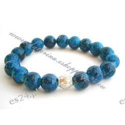 Bransoletka ze szklanych koralików z zawieszką kolor niebieski