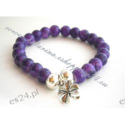 Bransoletka z koralików z zawieszką kolor fioletowy
