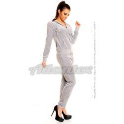 Dresy welurowe damskie beFitness komplet: bluza + spodnie, kolor: szary melanż, rozmiary od S do L