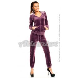 Dresy welurowe damskie |beFitness| komplet: bluza + spodnie, kolor: jasna śliwka, rozmiary od S do L