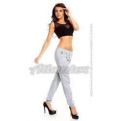 Spodnie dresowe damskie ściągacz kieszenie, kolor: szary melanż, rozmiary od S do L