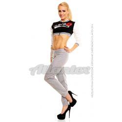 Spodnie dresowe damskie nogawki w ściągacz kolor: szary melanż