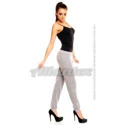 Spodnie dresowe welurowe damskie nogawki w ściągacz kolor: szary melanż