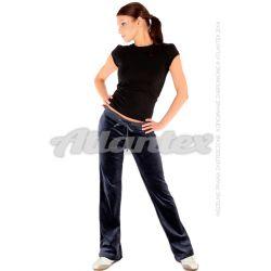Spodnie dresowe welurowe damskie proste nogawki kolor: antracyt