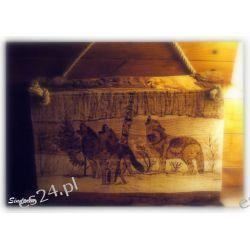 Deska sosnowa, ręczne wypalanie w drewnie, wilki Pozostałe