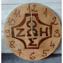 Zegar drewniany, ręcznie wypalany Przedmioty ręcznie wykonane