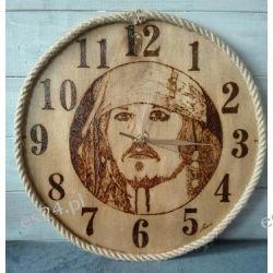 Zegar drewniany, ręcznie wypalany, duży Przedmioty ręcznie wykonane