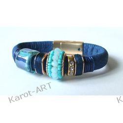 Granatowa bransoletka GLAMOUR z ceramiką Biżuteria dla Panów