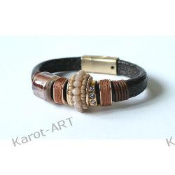 Brązowa bransoletka GLAMOUR z ceramiką Biżuteria dla Panów