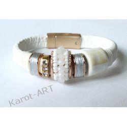 Biała bransoletka GLAMOUR z ceramiką Biżuteria dla Panów