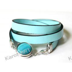 Błękitna bransoletka z eko-skóry Biżuteria dla Panów
