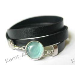 Czarna bransoletka z eko-skóry Biżuteria dla Panów