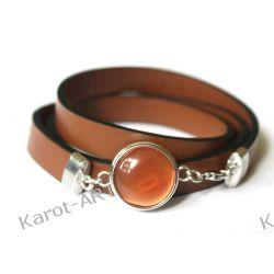 Brązowa bransoletka z eko-skóry Biżuteria dla Panów