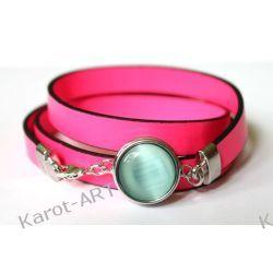 Różowa bransoletka z eko-skóry Biżuteria dla Panów