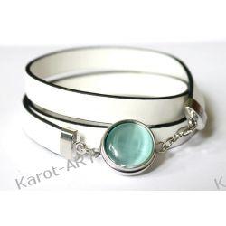 Biała bransoletka z eko-skóry Biżuteria dla Panów