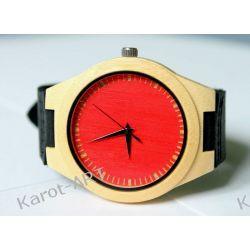 NOWOŚĆ na lato! Drewniany czarwony zegarek BAMBUS Zegarki