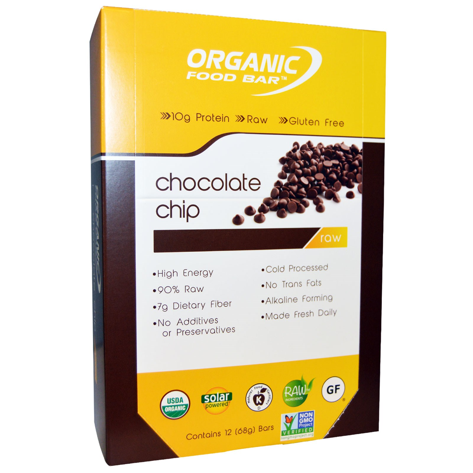 Organic food bar chocolate chip 12 bars 68 g each na for Organic food bar