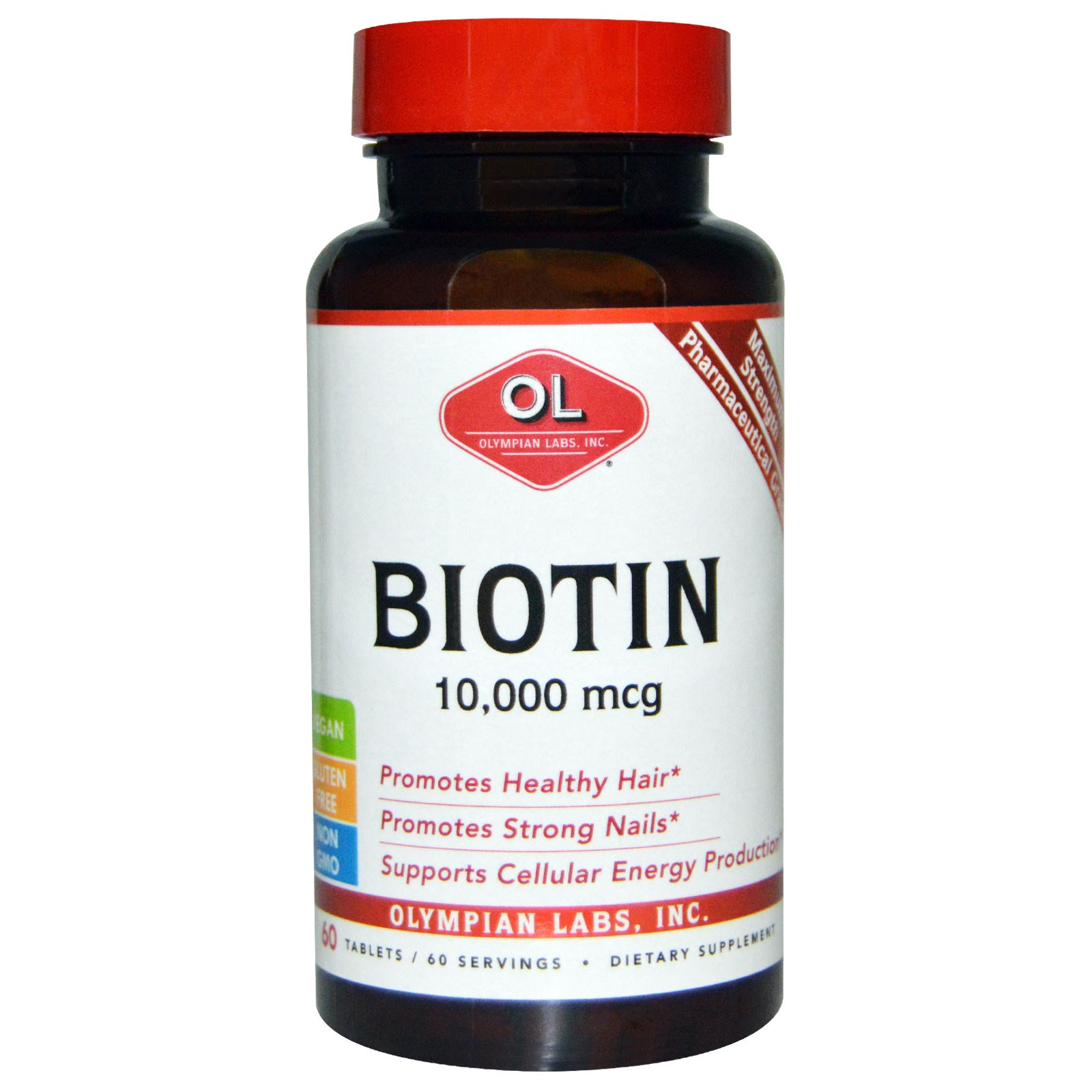 Olympian Labs Inc., Biotin, 10,000 mcg, 60 Tablets na ...