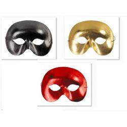 Maska NIEZNAJOMY METALIK żółta czerwona czarna bal