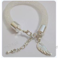 Bransoletka wykonana z siatki jubilerskiej - biała Biżuteria i Zegarki