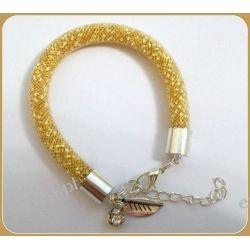 Bransoletka wykonana z siatki jubilerskiej - złota Biżuteria i Zegarki