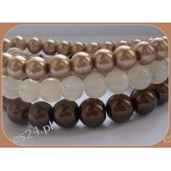 Bransoletka z szklanych pereł w beżowych kolorach Biżuteria i Zegarki