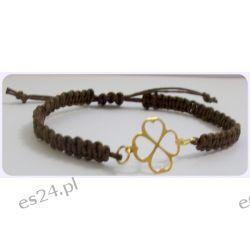 Makarama brązowa z złotą koniczynką Biżuteria i Zegarki