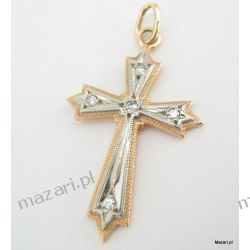Krzyżyk złoty z diamentami Dewocjonalia