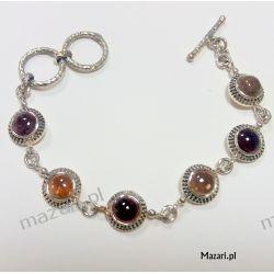 Bransoletka srebrna z kamieniami Biżuteria i Zegarki