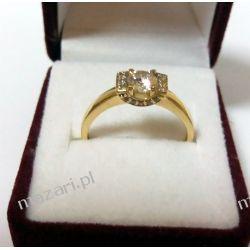 Pierścionek złoty z cyrkoniami Biżuteria i Zegarki