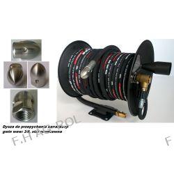 Wąż 50 metrów ,250 BAR,DN08,TEMP-(+155°C) do urządzeń myjących+bęben+dysza do udrażniania przepychania kanalizacji,gwint: 3/8 Narzędzia