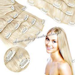 Clip in Doczepiane włosy 100% Naturalne GĘSTE 57cm