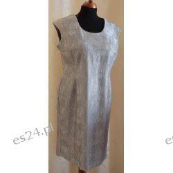 Elegancka sukienka srebrna koronka , rozmiar 52