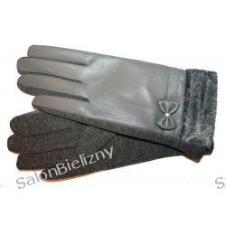 976 MORAJ ciepłe rękawiczki z eko skórki szare Szlafroki