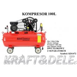 kompresor 100 L dwutłokowy z separatorem KD1472 Agregaty prądotwórcze