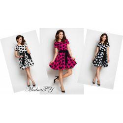 NOWOŚĆ sukienka GROCHY rozkloszowana * 42 XL