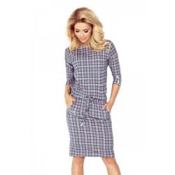 NUM 13-58 Luźna sukienka w kratę codzienna__ 42 XL