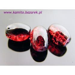 Koraliki czerwono-czarne crackle 14 mm,6 szt
