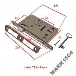 Zamek Zamki drzwiowy wpuszczany 72/60 klucz JANIA