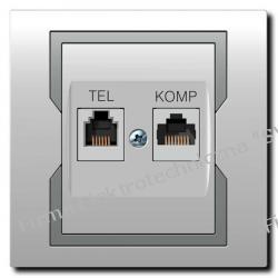 Gniazdo komputerowe+telef. (RJ 45+RJ 11) b/r