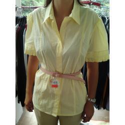 koszula z krótkim rękawem, żółta, z kołnierzykiem KAWA