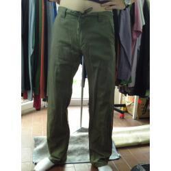 spodnie długie, zielone, lniane RIFLE