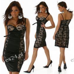 ELEGANCKA SUKIENKA Z KORONKI CZARNO ZŁOTA XXS Sukienki wieczorowe