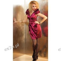 WYJĄTKOWA ORYGINALNA SUKIENKA WIECZOROWA BORDO R/S  Sukienki wieczorowe