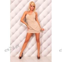 Najmodniejsza beżowa sukienka Mayadi S/M Sukienki wieczorowe