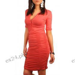 Świetna sukienka marszczona z kołnierzykiem Sukienki mini